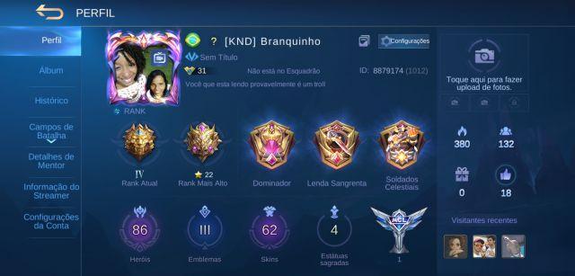 Conta Mobile legends full