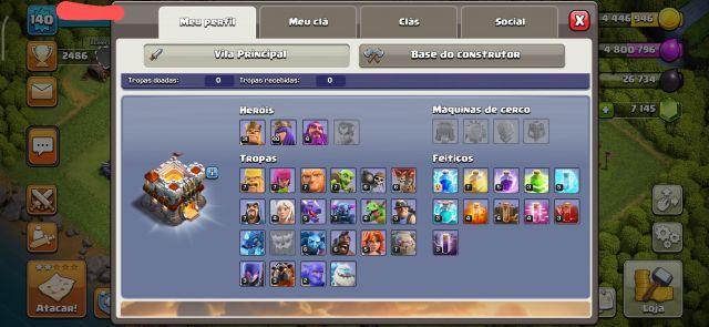 Conta Clash of Clans mais 7000 gemas