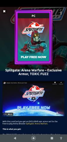 venda (gift card)Splitgate:Arena Wafare code toxic fuzz