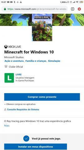 venda Conta Microsoft com Minecraft windows 10 edition