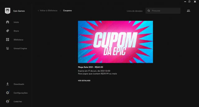 Conta Epic Games + CUPOM DE R$40.00