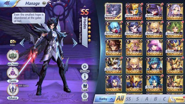 Desapego Games - Conta Saint Seiya Awakening - TODOS OS PERSONAGENS - iOS (iPhone/iPad), Mobile, Android, PC