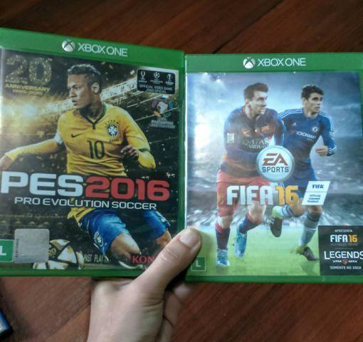 troca FIFA 16 e PES 16 de Xbox One