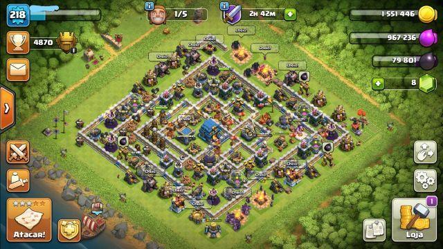 contas clash of clans e royale cv 12,11,9 e 9