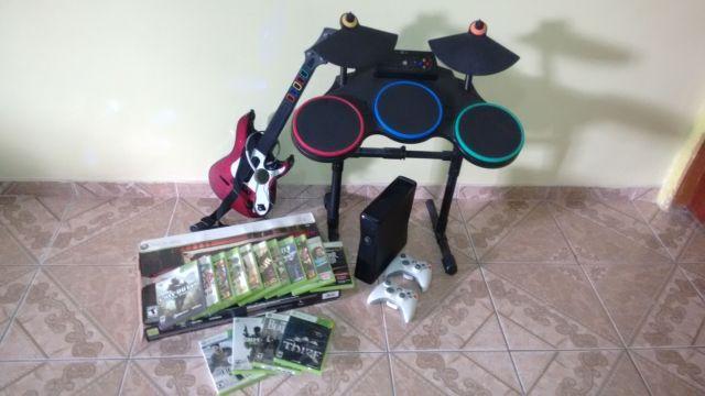 venda Xbox 360 Slim + Jogos + acessórios + controles