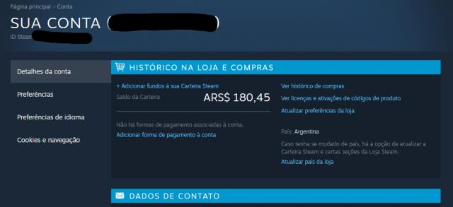 venda Conta Steam Argentina