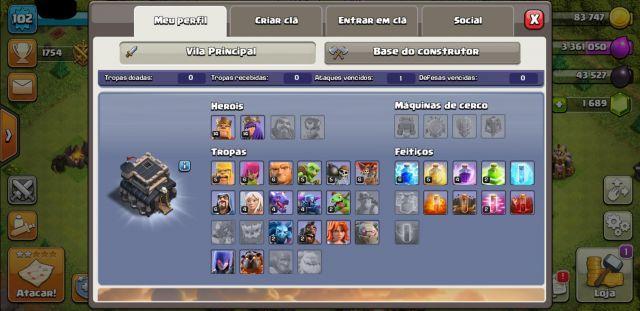venda Clash of Clans vila CV 9