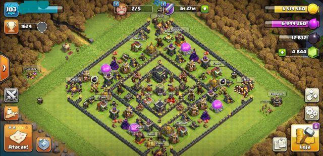 Conta Clash of Clans, CV 9 full, 4850 GEMAS+Royale