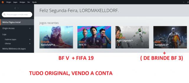 Conta Origin ( BF V e fifa 19)+ TIME TOP NO ONLINE
