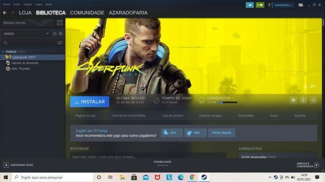 Conta steam com cyberpunk 2077