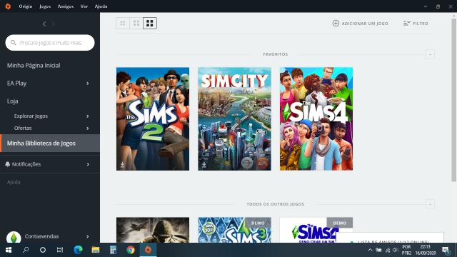 Conta origin - The sims 4 e expanções + Simcity