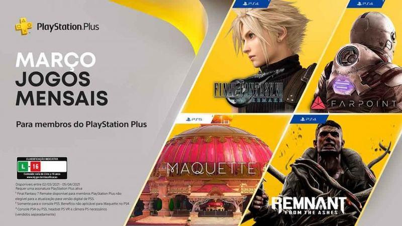 Blog PS Plus de março terá Final Fantasy VII Remake e mais 3 jogos