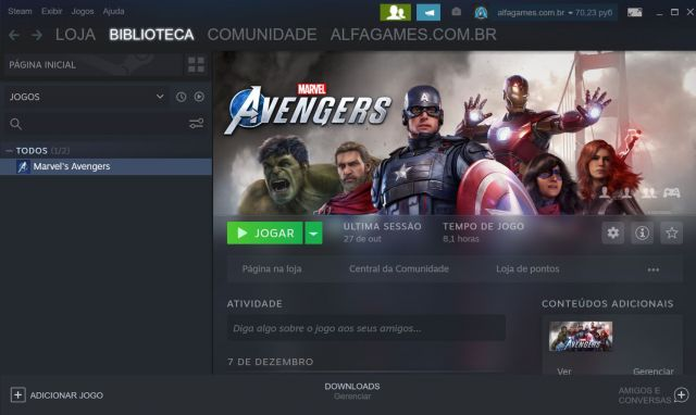 Conta Steam MARVEL AVANGERS