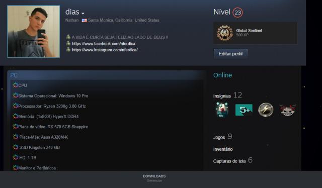 Conta Steam LV 24 9 JOGOS