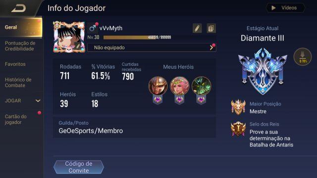 Arena of valor 61% Wr Mestre