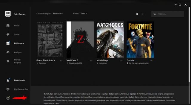 Conta da Epic Games com jogos TOPS