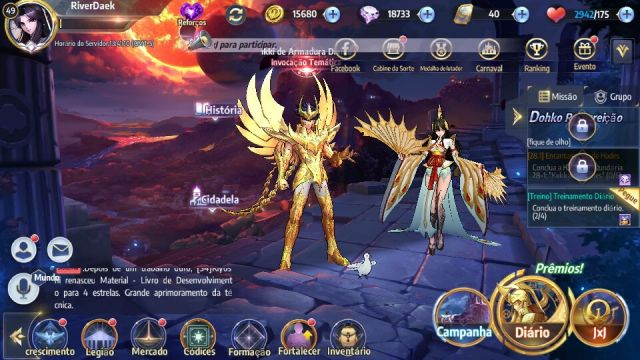 venda Conta level 49 no Saint Seiya awakening, servidor